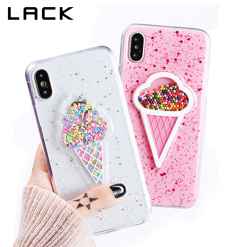 Galleria fotografica LACK 3D Dynamic Ice Cream Phone Case For iphone X Case Fashion Glitter Bling Back Cover Lovely Cartoon Cases For iphoneX Capa