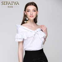 Brand Elegant Runway Blouses New Sexy Woman Slim Shirt Petal Short Sleeve Blouse Off Shoulder V Neck with Bow European Style