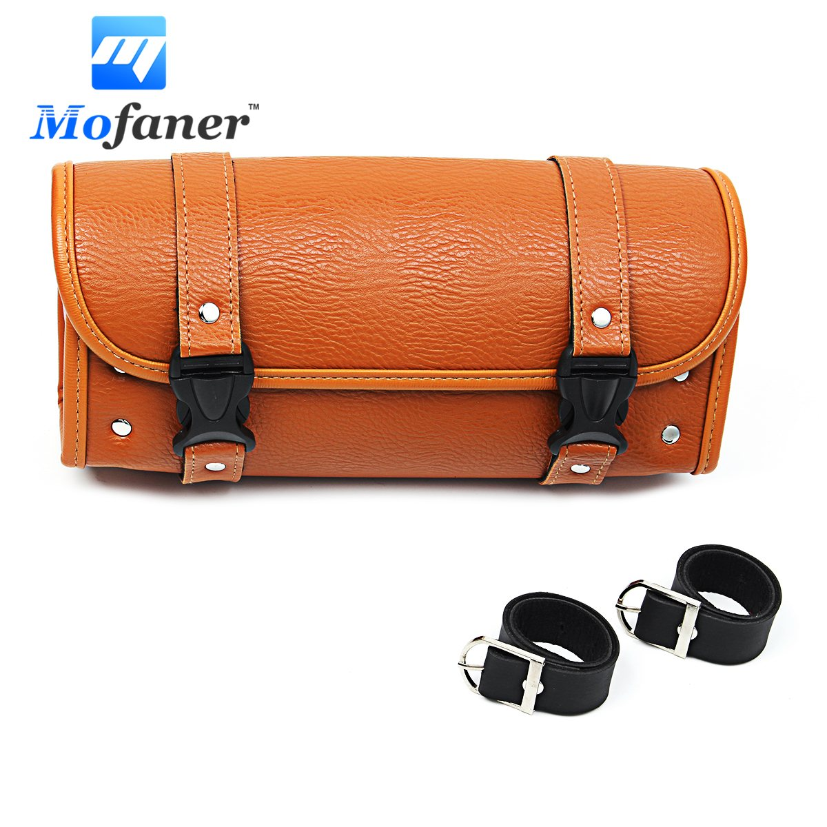 Mofaner Retro Motorcycle Saddlebag PU Leather Motorcycle Barrel Saddlebags Storage Tool Bags Pouch For Harley-Davidson