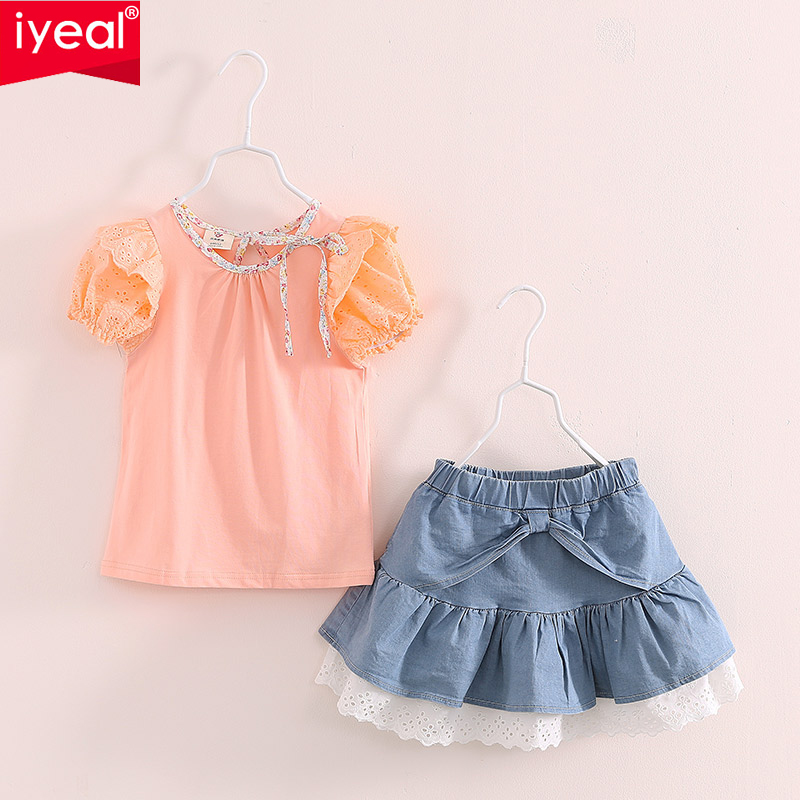 Baby Girls Clothing Sets Outfits 2016 Summer Children Puff Girls T-shirt Top With Lace Denim Jeans Skirt Toddler Girl Clothes newborn toddler girls summer t shirt skirt clothing set kids baby girl denim tops shirt tutu skirts party 3pcs outfits set