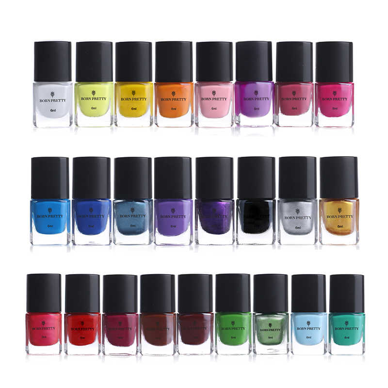 GEBOREN PRETTY 6ml Nail Art Stamping Polish Vernis Nail Plaat Afdrukken Polish Nail Art Decoratie 25 Kleuren Optionele