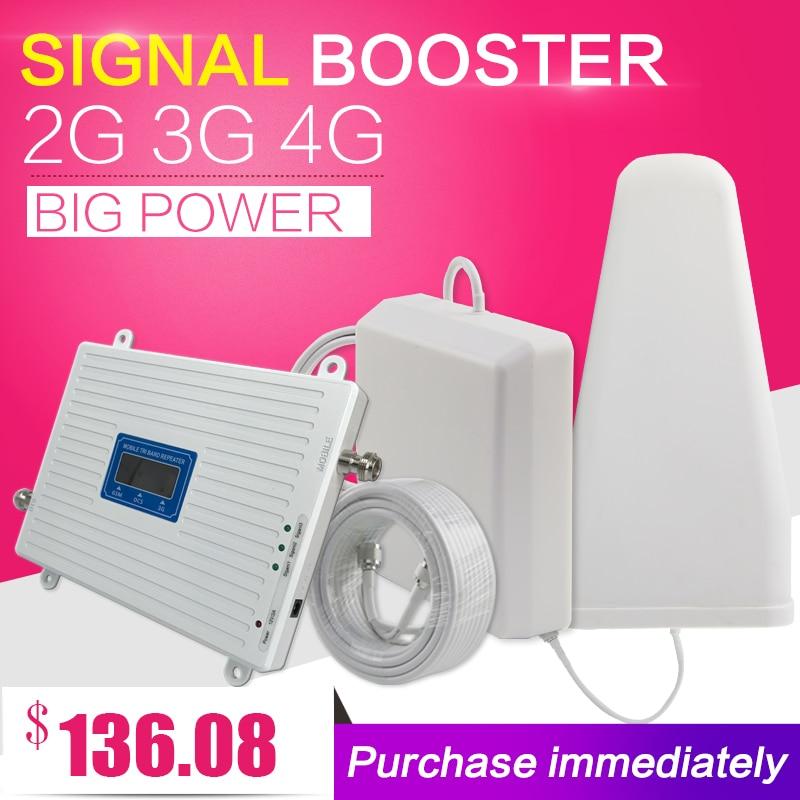 2G 3G 4G Triplo band Cell Phone Signal Booster 70dB GSM 900 LTE 1800 WCDMA 2100 mhz Celular Repetidor De Sinal Celular Antena conjunto