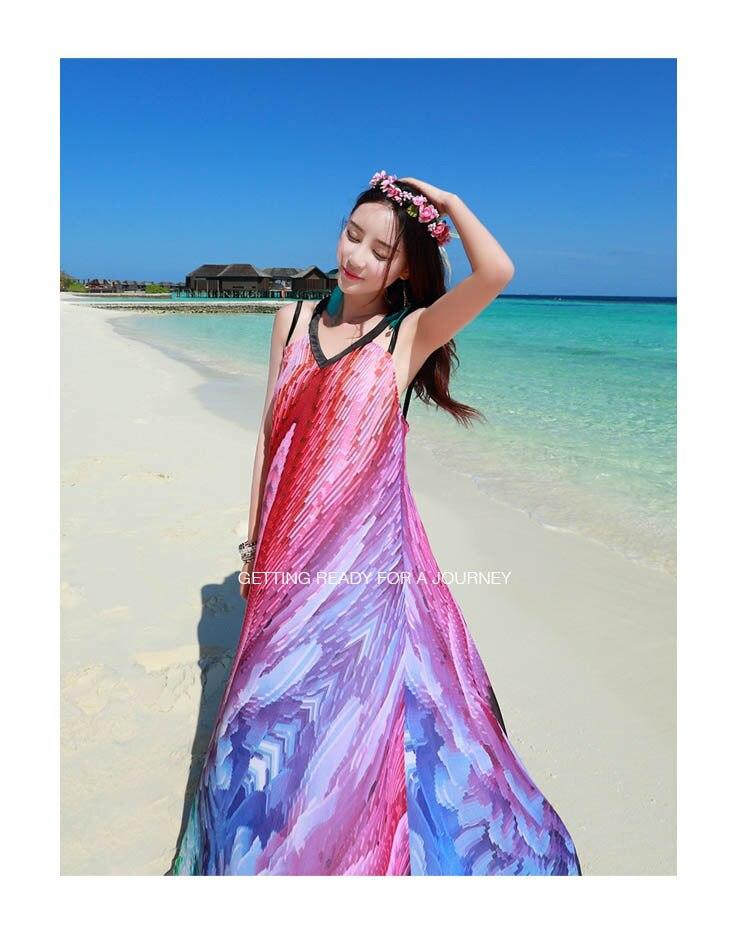 d78f95f11978 New Summer Floral Print Brace Bohemian Style Brand Designer Chiffon ...