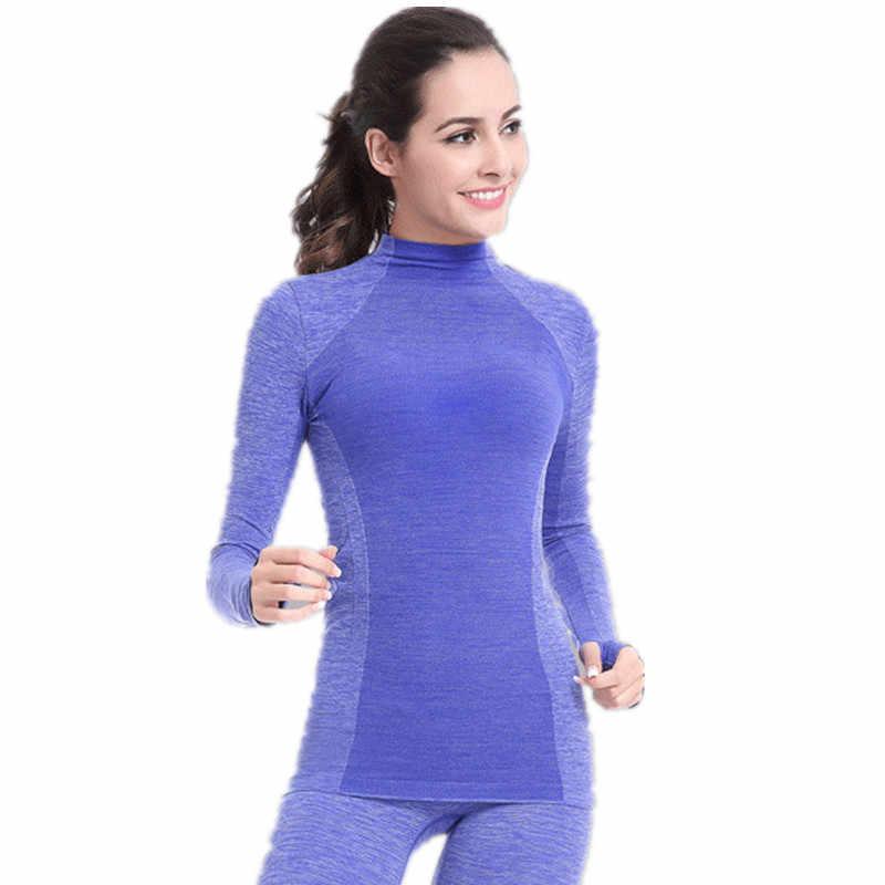 2018 العلامة التجارية الجديدة رياضية ملابس اخلية حرارية النساء الشتاء سريعة الجافة عالية مطاطا طويل داخلية حزمة حرارية المرأة الدافئة قطعتين مجموعة