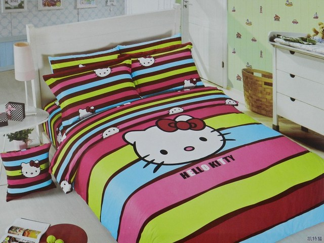 Hot Beautiful 100% Cotton 4pc Doona Duvet QUILT Cover Set bedding set Full / Queen/ King size 4pcs cartoon colorful hello kitty