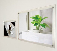 (GT4161 12inch) Wall Mount Acrylic Photo Picture Frame With Advertising Metal Screws For 12 and A4 Poster Cards