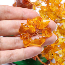 Feng Shui Natural Citrine Gem Stone Money Tree 7 Inch For Wealth Luck