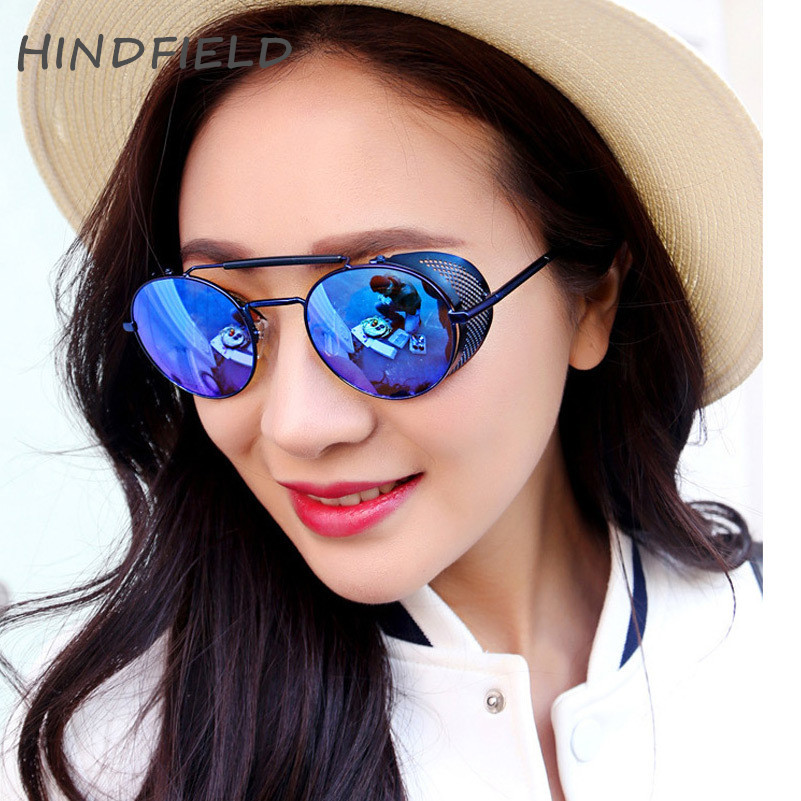 HINDFIELD Steampunk sluneční brýle dámské vintage kulaté parní punk kovové ženské sluneční brýle oculos de sol feminino UV400