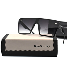 2019 Vintage Brand Designer Black Mirror Sunglasses Oversized Square