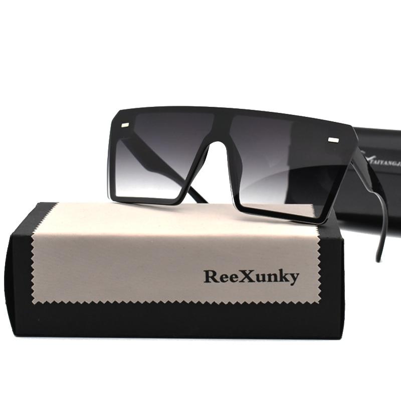 2020 винтажные брендовые дизайнерские черные зеркальные солнцезащитные очки большие квадратные солнцезащитные очки для женщин с плоским ве...