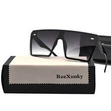 Gafas de sol cuadradas de gran tamaño con espejo negro de diseñador de marca Vintage 2020 para mujer, gafas de sol planas UV400 zonnebril dames