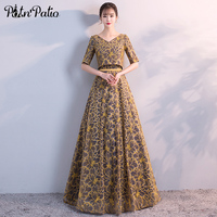 PotN Patio Yellow Satin Long Prom Dresses With Jacket 2018 New Half Sleeves A Line Simple