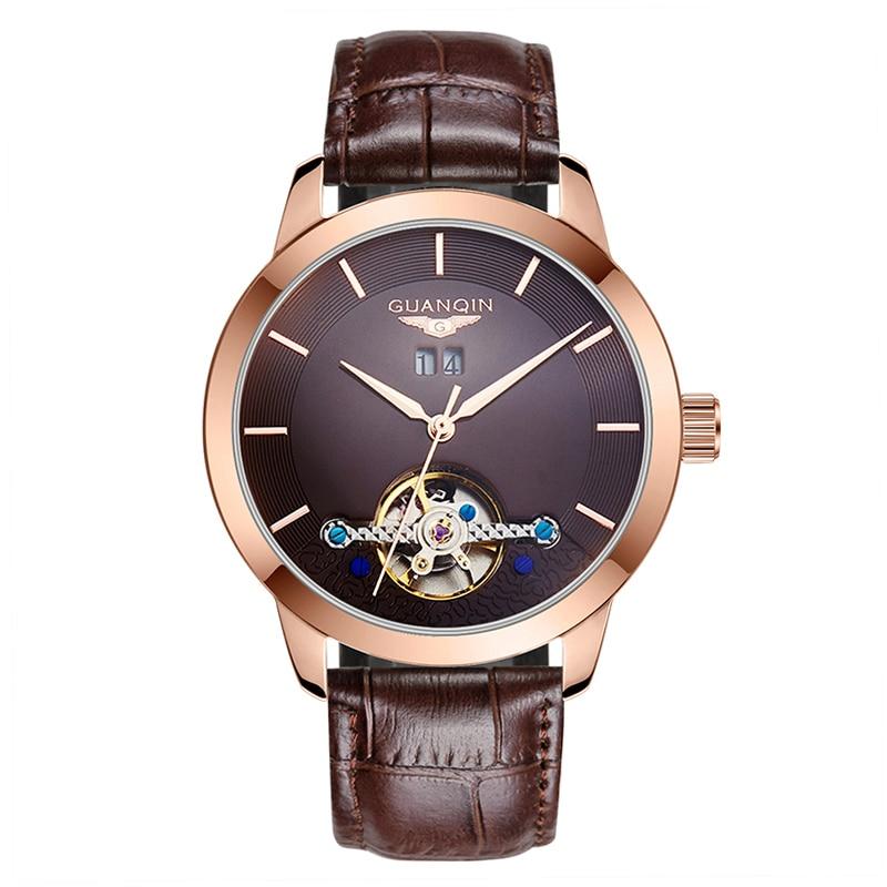 GUANQIN GJ16029 Men Watch Automatic Mechanical Watches skeleton Vintage Leather Men Watch Wristwatches Relogio Masculino Reloj