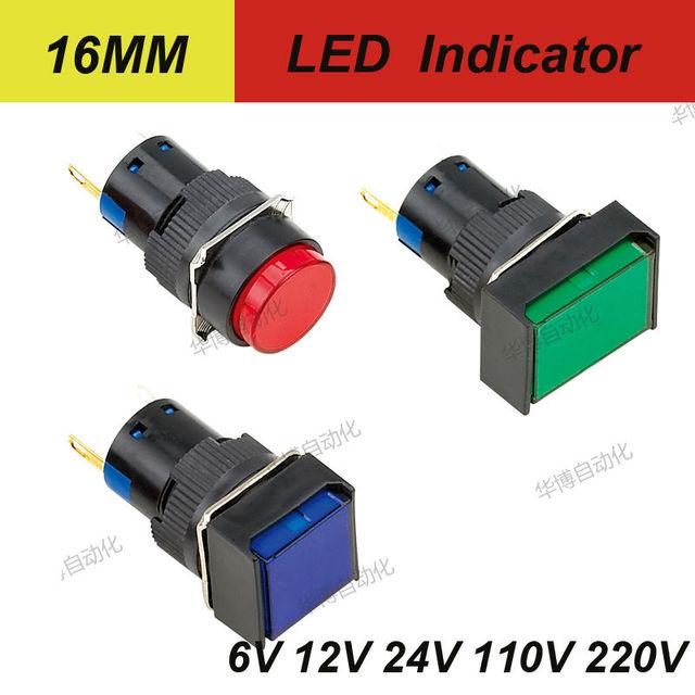 16MM Short Led Indicator Round Square Rectangular Head 2PINS 12v Mini Lights 6V 12V