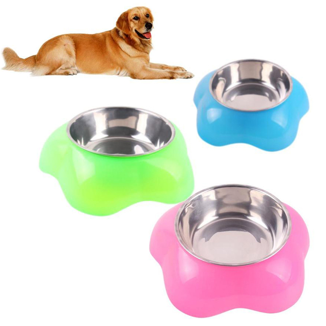 Stainless Steel Dog Cat Bowl Feeding Pet Food Water Dishes Feeder Food Drink Water Feeder Pets Supplies Non-slip Feeding Dishes