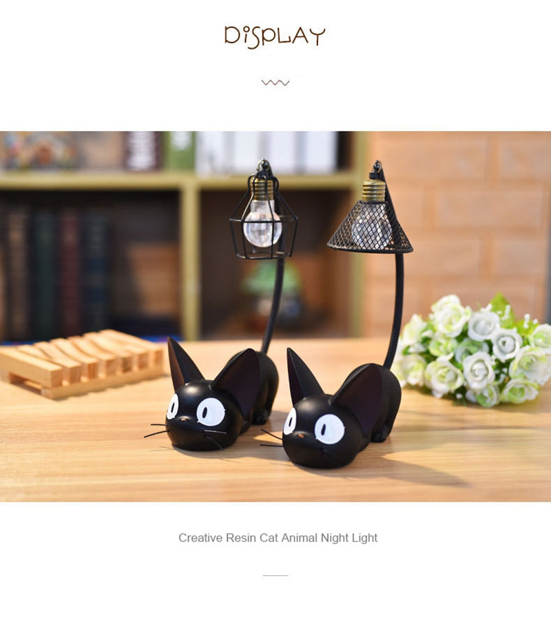 LED Night Light Creative Resin Cat Animal Night Light Ornaments Home Decoration Gift Small Cat Night Lamp (4)