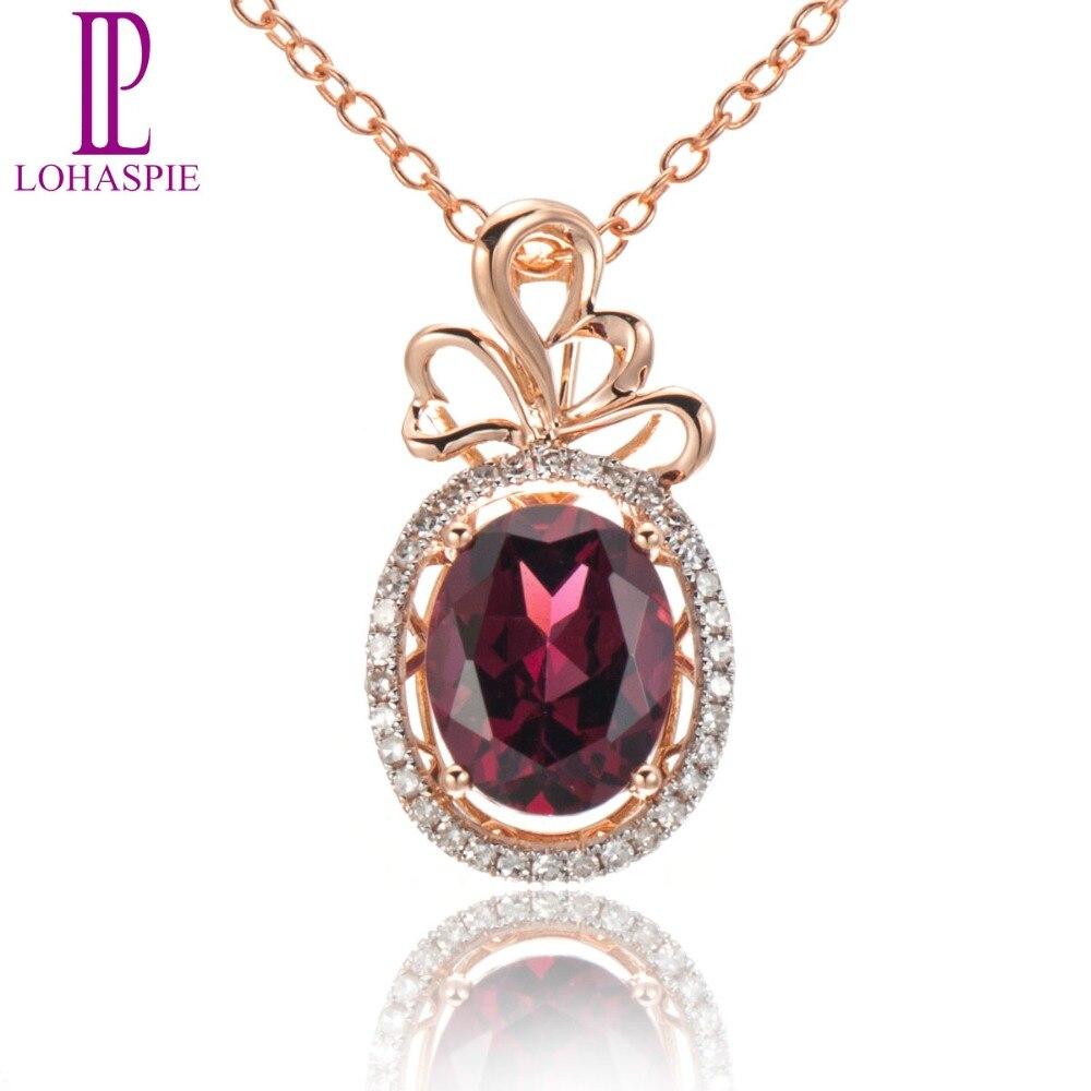 Lohaspie Solid 18K 750 Rose Gold 2.26ct Natural Gemstone Rhodolite Garnet & Diamonds Pendant For Women Fine Diamond-Jewelry
