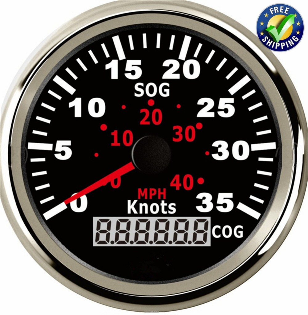 1pc Marine Instrument Panel Gauges 0-35Knots GPS Speedometers 85mm Speed Indicators 0-40MPH Waterproof SOG COG for Boat Black 1pc brand new auto tuning gauges 85mm gps speedometers 0 200km h lcd speed indicators with red backlight and antenna for sale