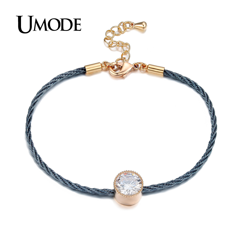 UMODE Brand New Trend Bracelet For Ladies Gold Color Rope Chain Bracelets Women Fashion Jewelry Pulseira Masculina Gift AUB0088