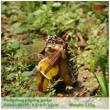Повседневной коллекции Ежик игры Гитары прекрасный Животные Фея Садовый Гном Moss Террариум Декор