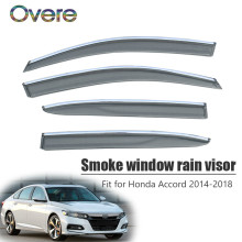 Overe 4Pcs/1Set Smoke Window Rain Visor For Honda Accord 2014 2015 2016 2017 2018 ABS Vent Sun Deflectors Guard Accessories(China)