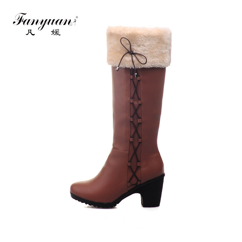 Fanyuan Fashion Women's Winter Short Plush Shoes Narrow Band Knight boots Women Square heel Snow Boots Slip-On Knee High Boots