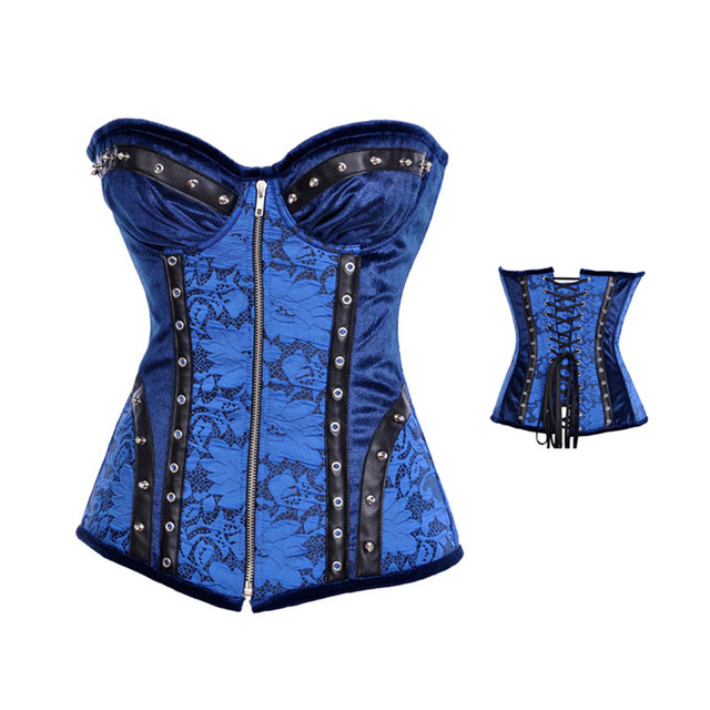 Las mujeres del corsé bustier Sexy corsé azul con encaje