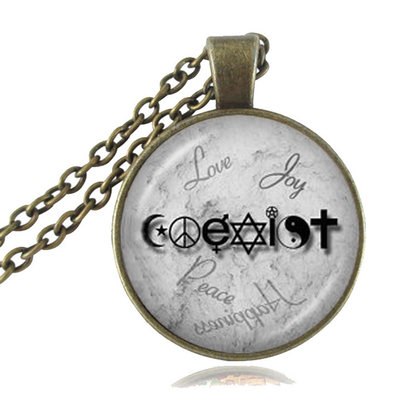 Coexist necklace unity of faith pendant crescent moon jewelry yin coexist necklace unity of faith pendant crescent moon jewelry yin yang pentagram cross hippy love peace sign sweater necklace in pendant necklaces from aloadofball Gallery