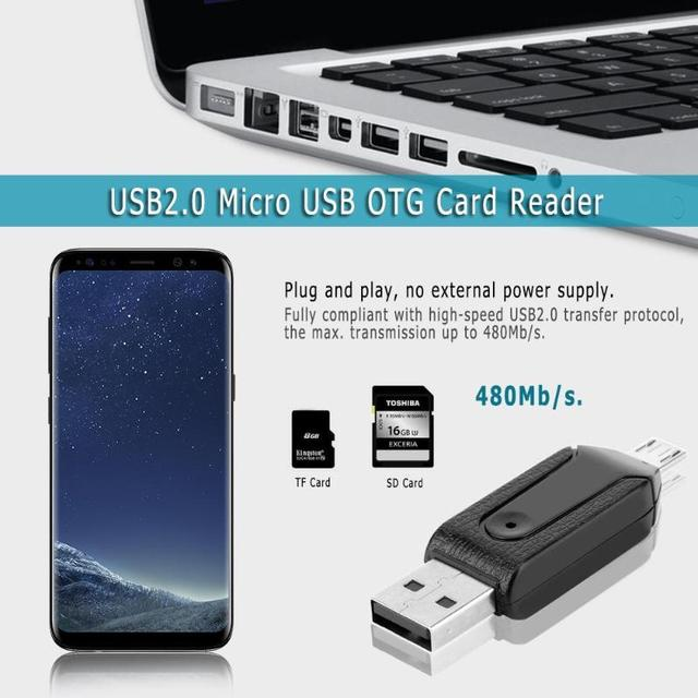 ALLOYSEED USB2.0 Micro USB OTG Card Reader for TF SD Memery Card for PC Mobile Phone for Android phone Computer notebook 3