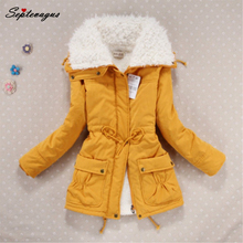 2017 Women Autumn Winter Coat Slim Plus Size Outwear Medium-Long Wadded Jacket Cotton Fleece Warm Yellow Parkas;kaban bayan  цена 2017