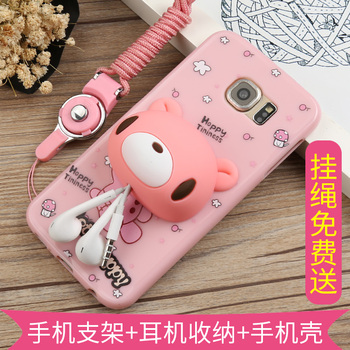 For Samsung Galaxy S6 case with lanyard Cartoon 3D Cute soft TPU Fitted Case with winding earphone Cable for galaxy s6 cover