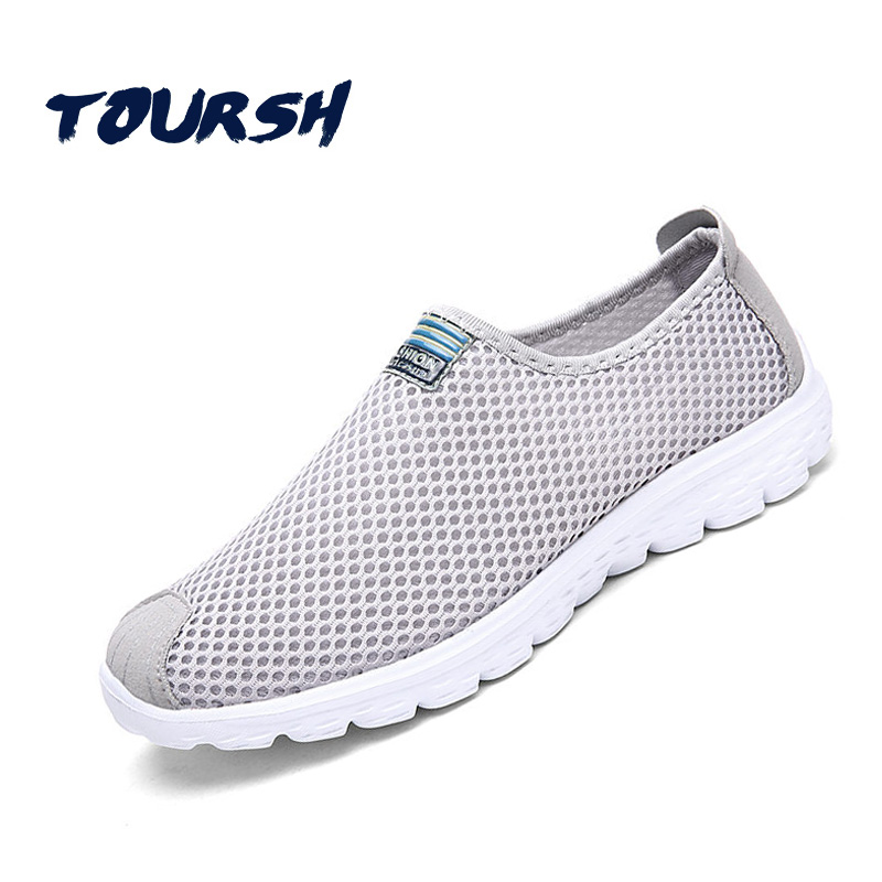 TOURSH Summer Style Male Lazy Network Casual Shoes Foot Wrapping Breathable Mesh Shoes Men Super Light Flats Shoes Krasovki Men men shoes summer breathable lace up mesh casual shoes light comfort outdoor men flats cheap sale high quality krasovki