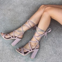 Open Toe Ankle Lace Up Thick Heel Sandals Pink Purple Faux Suede Cross Tied High Heel Sandals Casual Summer Women Party Shoes