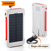 A prueba de agua 10000 Mah Solar Cargador 2 Puertos USB Batería Externa Solar Power Bank Cargador Portátil para Smartphone Con Brújula SOS