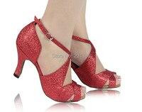 Wholesale Women Red Glitter Ballroom LATIN Dance Shoes SALSA Dance Shoes Size 4 5 5 5
