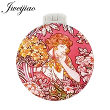 JWEIJIAO Beauty Woman Photo Pocket Mirror With Massage Comb Girls Folding Compact Portable Makeup Multifunctional Tools