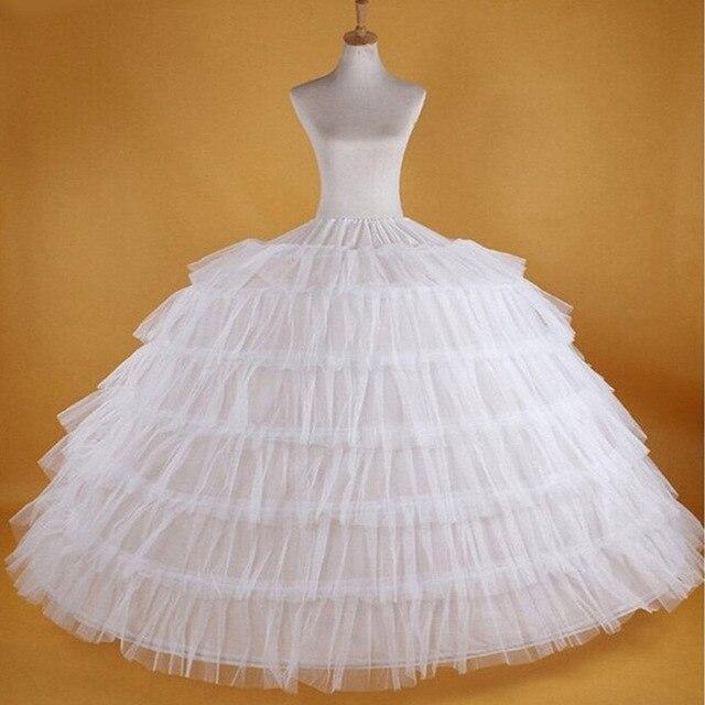 Saias de noiva, venda quente de 6 ganchos, grande, branco, super macio, crinolina, deslizante, para vestido de noiva