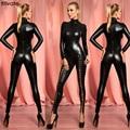 ENFEITAR Senhoras Sexy Club Noite Viscose Macacão Calças Slim Partido Bodysuit Látex de Manga Comprida Macacão Bodysuit de Couro Artificial