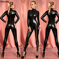 TITIVATE Sexy Ladies Club Night Viscose Jumpsuit Slim Pants Party Bodysuit Long Sleeve Latex Artificial Leather Bodysuit Rompers