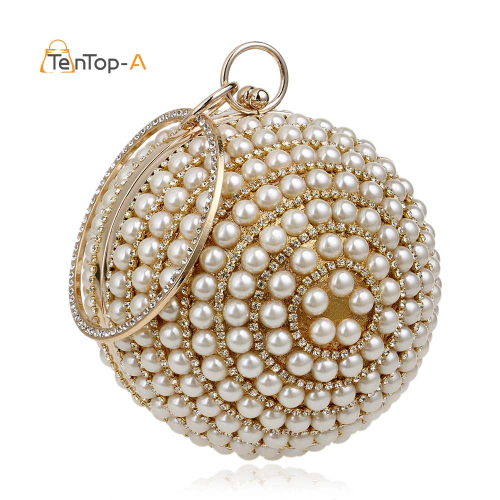 Drop Shipping Women's Round Ball Pearl Beaded Bag Diamond Tellurion Evening Bag Bridal Wedding Wrist Bag Clutches Purse YM1060