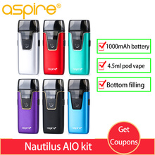 E cigarette Aspire Nautilus AIO kit pod system 1000mAh Bottom filling & 4.5ml Vape vs Cobble Vaporizer