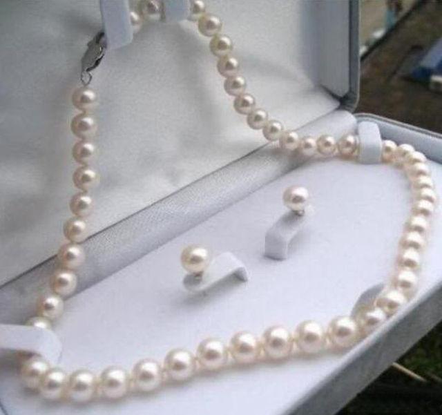 f01c7f3c46ca6 8-9mm Blanc Naturel Akoya Perle de Culture Boucles D'oreilles Collier  Ensemble de