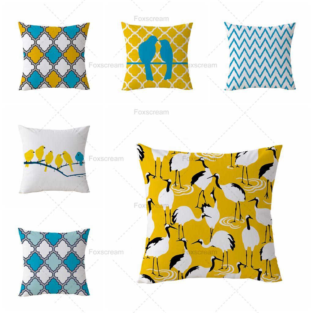 Velvet Pillow Cover Geometric Decorative Pillows Case Animal Yellow Bird Cushion Cover Home Decor Pillowcase For Sofa