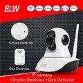 Inteligente Sistema de Segurança POE P2P Câmera IP Sem Fio 720 P HD + Detector de fumaça + Detector de Gás Kit de Vigilância de Vídeo CCTV Camera BW02S