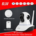 Smart System Security POE IP Camera Wireless P2P 720P HD + Smoke Detector +Gas Detector Video Surveillance Kit CCTV Camera BW02S