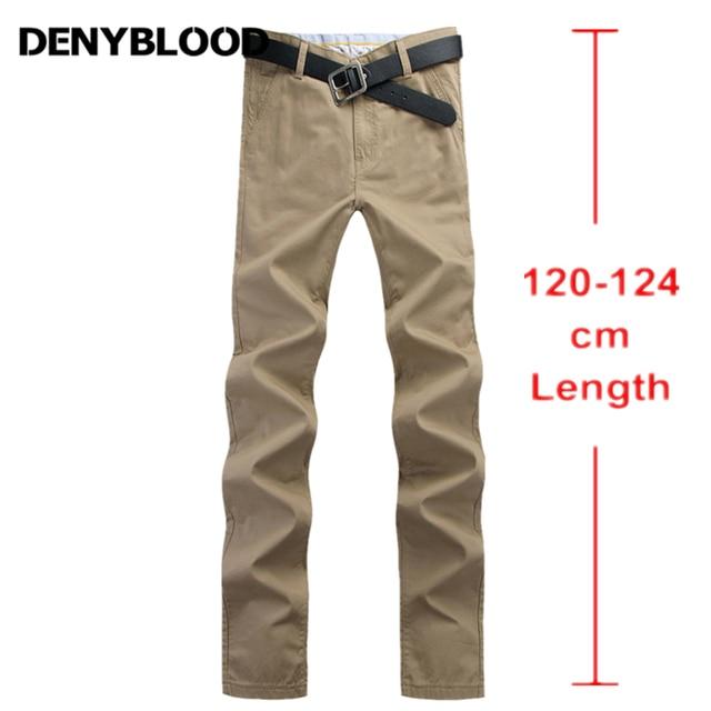 nouvelle arrivee 44727 b0eea € 32.68 50% de réduction 120 cm Extra Long Mens Chinos Pantalon Plus La  Taille 28 ~ 44 Hommes Occasionnels Pantalon Mince Pantalon Droit Mâle Sergé  ...