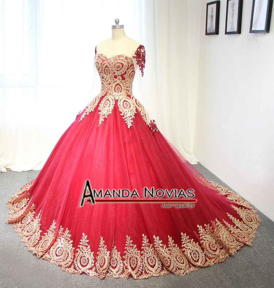 Image 3 - 2019 Luxury Wine Red With Golden Lace Wedding Dress Ball Gown With Sleeveswine redwith sleeveswedding dress with lace -