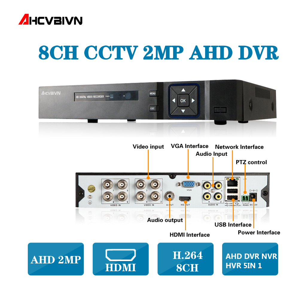 8CH 1080P DVR System ONVIF mini NVR 8CH AHD Hybrid DVR HDMI 1080P H.264 P2P Cloud network video recorder CCTV 8CH DVR Recorder цена