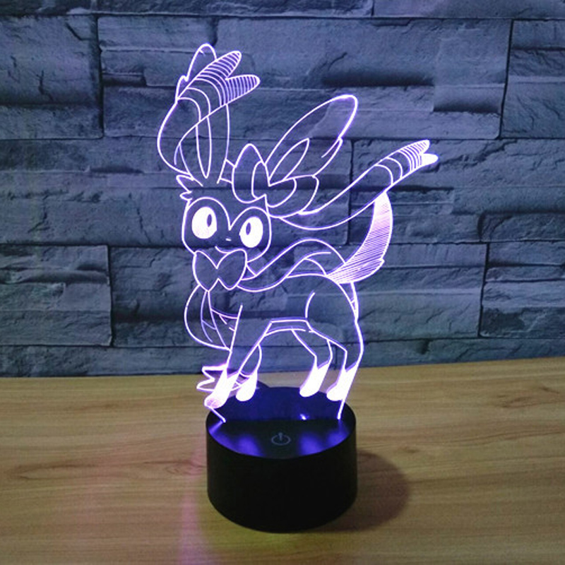 The Pokemon Sylveon 3d Led Night Light 7 Color Dimming