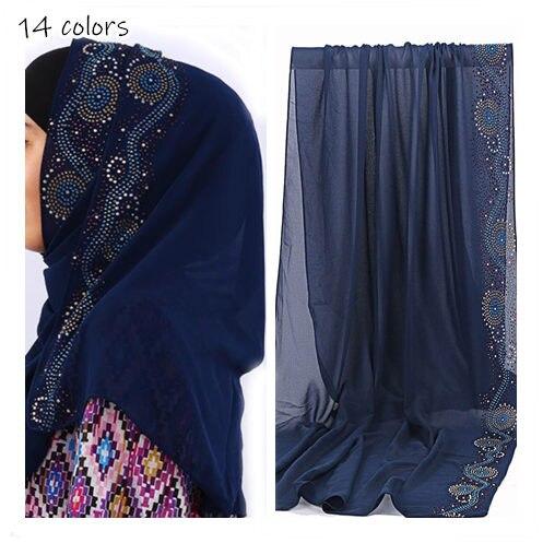 NEW rhinestone edges Women bubble Chiffon solid hijab scarf fashion plain shawl wraps lady echarpe muslim